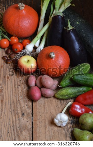 fruits and vegetables at thanksgiving - stock photo