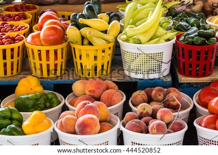 Fruits and vegetables for sale at the farmers market in Asheville North Carolina