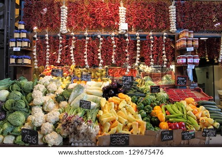 Fruits and vegetables for sale at the market stall - stock photo