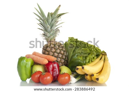 Fruits and vegetables, fresh food, dinner, healthy - stock photo