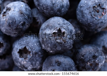 Fruits and vegetables: group of fresh wet blueberries, close-up shot - stock photo