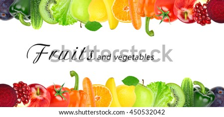 Fruits and vegetables. Healthy food concept. Fresh food