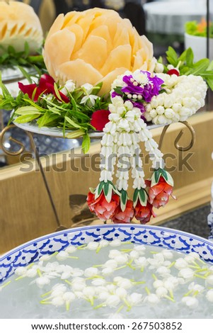 Fruits and vegetables in a beautiful buffet. - stock photo