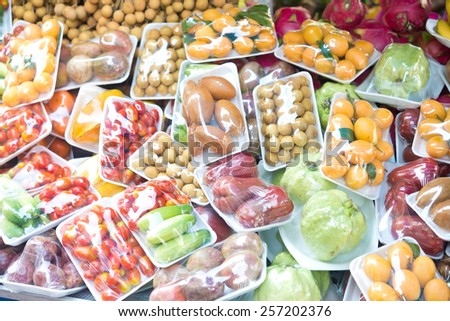fruits and vegetables in packing - stock photo