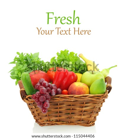 Fruits and vegetables in the basket - stock photo