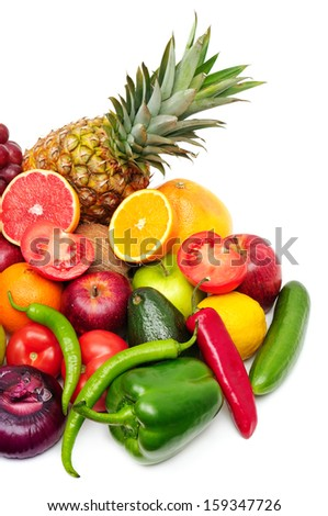 fruits and vegetables isolated on a white