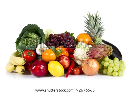 Fruits and Vegetables isolated over white - stock photo