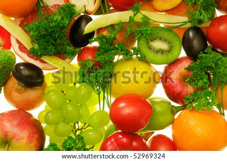 fruits and vegetables on a white - stock photo