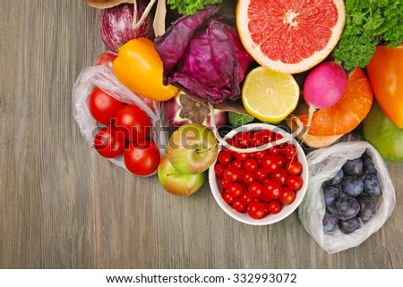 Fruits and vegetables on table - stock photo