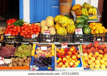 Fruits and Vegetables on the Counter of a Greengrocer's Shop