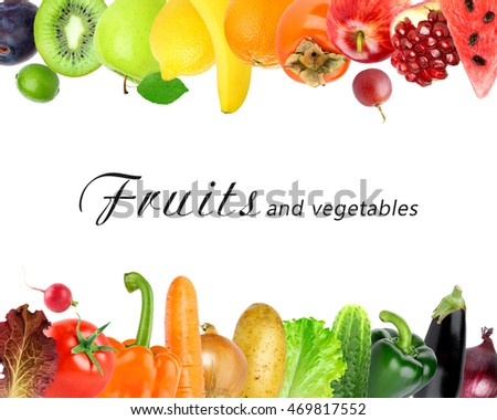 Fruits and vegetables on white background. Healthy food concept. Fresh food