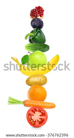 Fruits and vegetables on white background. Healthy food concept. Stack of fresh food - stock photo