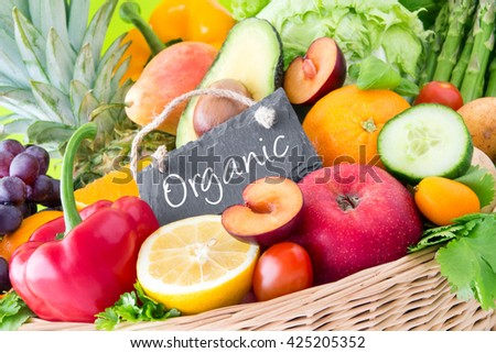 Fruits and vegetables - Organic - stock photo