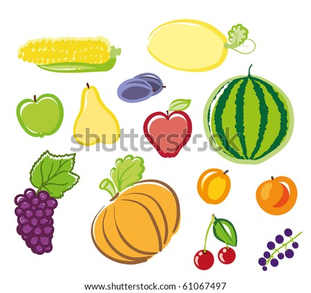 fruits and vegetables.raster - stock photo
