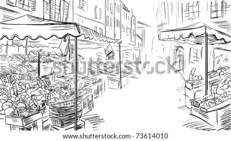 Fruits and vegetables shoping.Illustration sketch - stock photo
