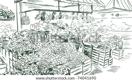 Fruits and vegetables street shopping.Illustration - stock photo