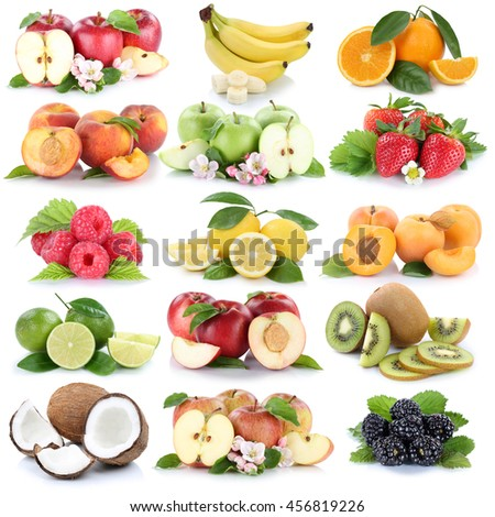 Fruits apple orange berries apples oranges banana fresh strawberry collection isolated on white