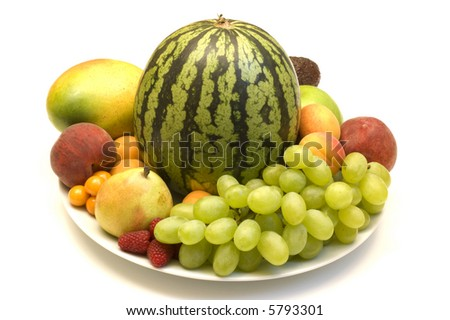 fruits assortment on whitye background - stock photo