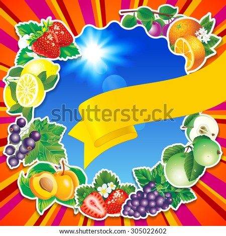 Fruits background with yellow ribbon and blue sky - stock photo