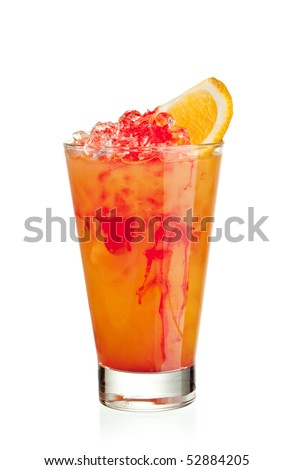 Fruits Cocktail - Orange, Pineapple, Grapefruit, Peach and Grenadine - stock photo