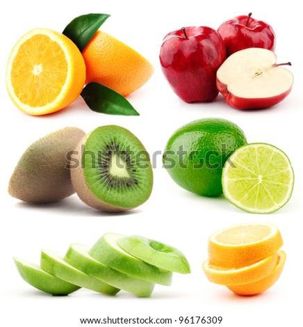 Fruits collection, fruits isolated. Big Set of different Fruits, apple, kiwi, lime, orange. Fruits on white background. Mixed Fruit, Fruits and Vegetables set. Composition of fruits. Vegan Set. - stock photo