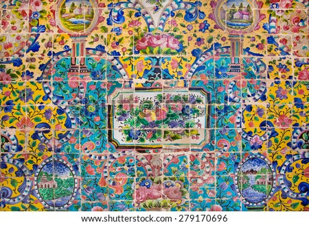 Fruits, flowers and branches background of colorful ceramic tiles in the traditional Persian style on the wall of the old royal palace in Tehran, Iran - stock photo