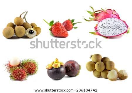 Fruits from Thailand on white background - stock photo
