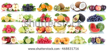 Fruits fruit collection orange apple apples banana pear grapes lemon cherry organic isolated on a white background