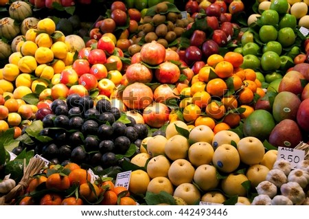 Fruits in Market, Barcelona, Spain