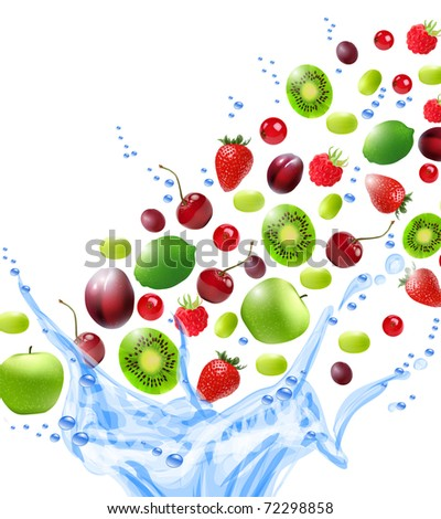 Fruits in water splash. Vector illustration