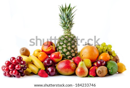 fruits isolated on a white background - stock photo