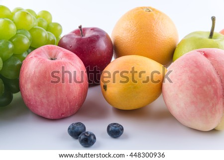 Fruits isolated on white background