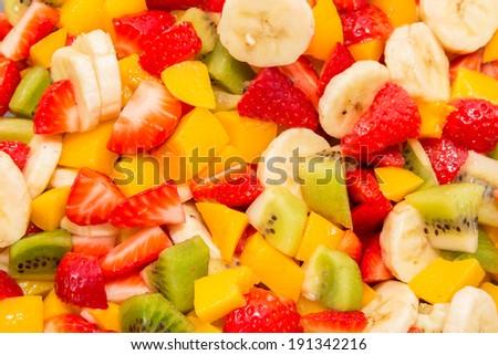 Fruits isolated on white background. Fruit salad. - stock photo