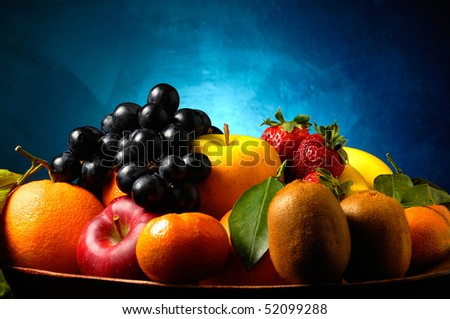 Fruits over a blu background