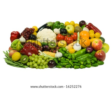 Fruits & Vegetables selection isolated. Healthy eating series.