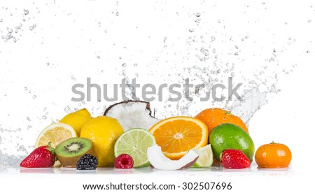 Fruits with water splashes - stock photo