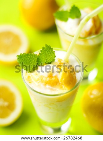fruity summer cocktail - stock photo