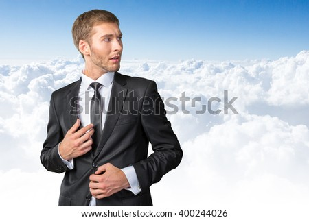 Frustrated and nervous young businessman - stock photo
