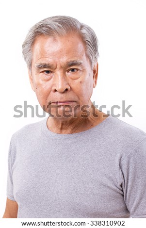 frustrated, angry, disappointed senior old man - stock photo