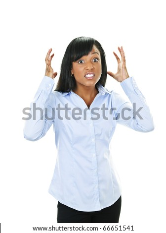 Frustrated black woman with arms raised isolated on white background - stock photo