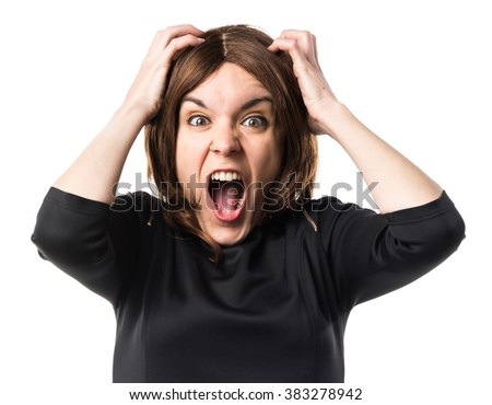 frustrated brunette woman