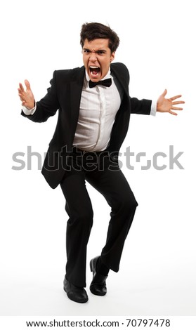 Frustrated business man with wide open mouth and gesticulating with hands - stock photo