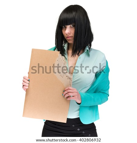 Frustrated business woman showing blank cardboard - stock photo