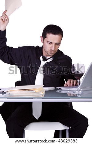 Frustrated Businessman Throwing His Folder to the Table - Isolated Background