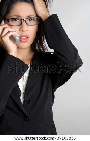 Frustrated Businesswoman on Phone - stock photo