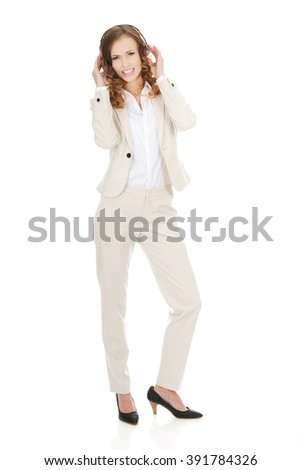 Frustrated call center woman talking. - stock photo
