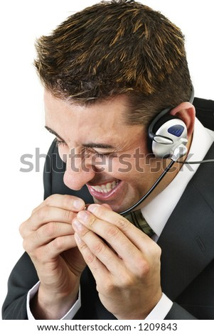 Frustrated customer service officer - stock photo