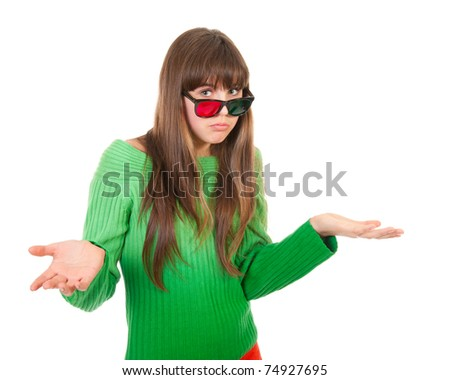 Frustrated girl wearing 3D glasses isolated over white background - stock photo