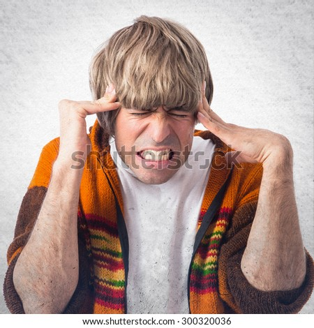 frustrated man  over grey background - stock photo