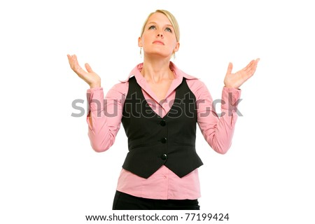 Frustrated modern business woman looking up and  raising her hands isolated on white - stock photo